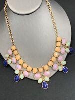 "Vintage Bold faceted Lucite Pastel gold bib  Rhinestone statement necklace 16""+"