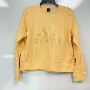 Adidas Original Womens Glow Orange Glam-Logo Crew Neck Sweatshirt Size Small $60