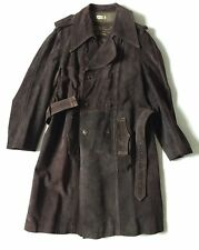 Don Giovanni Long Suede Leather Trench Coat - Size 40 (Medium) - Made In Spain