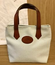Vintage Mulberry Leather Scotchgrain Light Powder Blue Mini Tote, Shoulder Bag