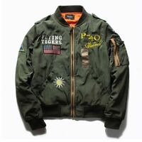 Cool Men  Autumn Pilot Bomber Jacket Flying Flight Thin Jacket Coat Waist Length