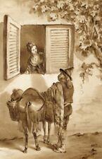 Italie, Scène de genre -  Dessin original ancien au lavis
