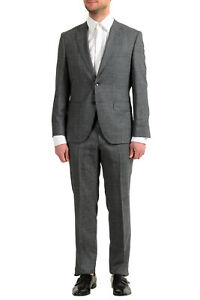 """Hugo Boss Men's """"Johnstons5/Lenon1"""" Regular Fit Gray 100% Wool Two Button Suit"""