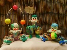 Vtg 1970 Handmade Paper Mache Clowns, Set Of 3, From Mexico