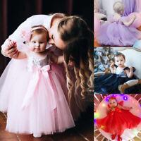 Baby Kids Girl Flower Bow Princess Dress Party Wedding Bridesmaid Formal Dresses