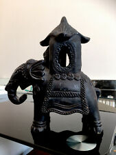 More details for antique handmade art pottery elephant ornament with 2 figures in hathi howdah