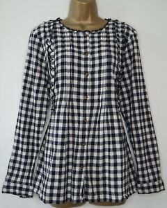 WHITE STUFF NAVY GINGHAM CHECK COTTON SMOCK BLOUSE SIZE 16 BUTTON FRONT SHIRT