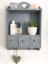 Shabby Chic Wall Unit Shelf Cupboard Cabinet Small Display Drawer Storage Heart