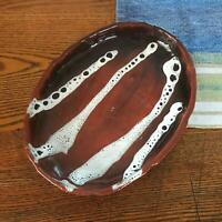 8.5 Hand Crafted Studio Terra Cotta Pottery Shallow Bowl Rust & Drip White Glaze