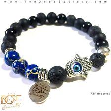Men's Bead Bracelet, Lava Bead Bracelet, Silver Hand Of Fatima, Jasper Bracelet