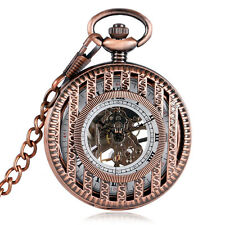 Stylish Hollow Hand Winding Mechanical Pocket Watch Wind Up Pendant Chain Stripe