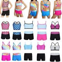 Girl Kid Dance Outfit Sports Gymnastic Tankini Leotard Crop Top+Shorts Dancewear