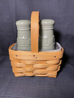 Longaberger Botanical Fields Sage Salt Pepper Shakers Basket Liners Holder Set