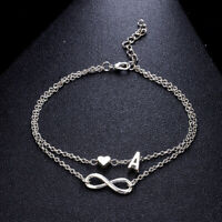 Silver Multi Layer Infinity Love Heart Initial Letter Chain Bridesmaid Bracelet