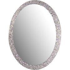 Mirror Oval Frame Less Bathroom Vanity Wall Elegant Crystal Border Home  Decor
