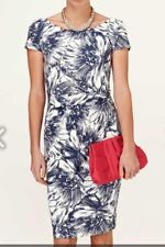 Phase Eight Nicky Printed Dress Navy and Ivory Size 10