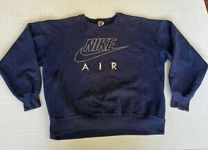 Vintage Nike Air Embroidered Swoosh Big Logo Crew Neck Sweatshirt Size XL