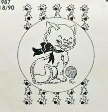 1990 Vintage Pretty Punch Hot Iron Transfer Pattern 2047 Cat With Yarn Ball 9119