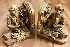 2x Vintage Circus Monkey Primate w/Banana & Fez Tassel Hat Bookends Book Ends