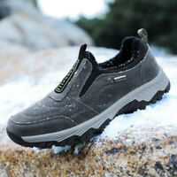 Mens Winter Warm Fur Lining Hiking Shoes Outdoor Walking Sport Athletic Sneakers