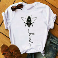 Women Bee Kind Peace Blouse White Short Sleeve Kindness Funny Top Casual T-Shirt