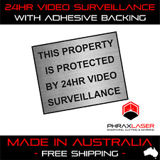 24HR VIDEO SURVEILLANCE - SILVER SIGN - LABEL - PLAQUE w/ Adhesive 50mmx40mm