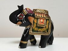 Fairtrade Handmade Carved Painted Wooden Rajasthani Elephant Indian Handicraft