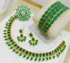 Indian Pak Necklace AD Green Stone Gold Tone Earrings Ring Bangles 4Pcs Jewelry