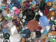 VTG GLASS RHINESTONES HUGE MIX BIG STONES & SMALL LOT 300+ REPAIR CRAFT FINDINGS