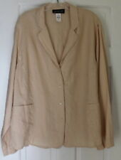 Jones New York -Sz 22W 2X Soft Peach Nude Lightweight 100% Linen Jacket Top