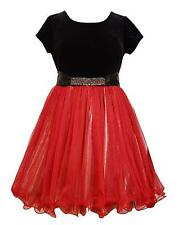 New Girls Bonnie Jean sz 8 Black Red Gold JEWEL Dress Holiday Christmas Clothes