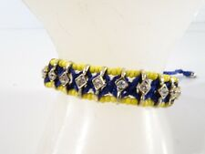 J.Crew Women's Navy Yellow Beaded Crystal Friendship Bracelet NWOT 39