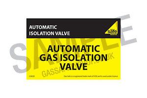 Gas Safe Automatic Isolation Valve Label