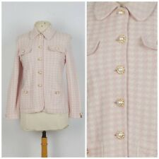 St. John Collection Marie Gray sz 4 Suit Jacket Rose Pink Wool Knit Houndstooth