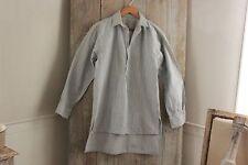 Vintage French night shirt nightshirt men's smock cotton fabric  blue stripe