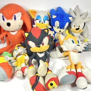 Sonic The Hedgehog Plush Lot Sonic Tails Knuckles Shadow Sonic Silver Used