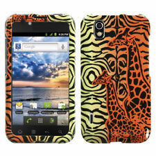 For LG Marquee HARD Protector Case Snap on Phone Cover Orange Giraffe Pair