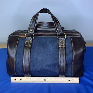 Rare Vintage 1970s Levi's Orange Tab Denim & Leather Zip Cylindrical Duffel Bag