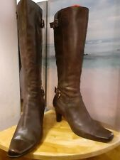 Womens Brown Leather Buckle&strap Knee Length Boots Size 7/40
