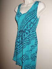 DKNY Womens Size XS Blue Multi-Color Stretch Dress Sleeveless