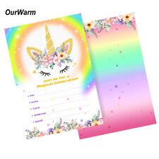 10 x Unicorn Invitations Rainbow Slumber Birthday Party Girl Cards with Envelope