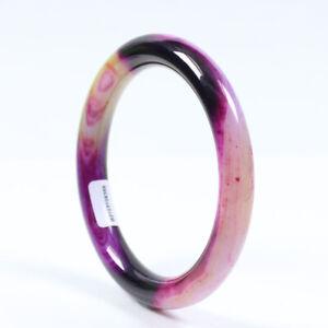 65mm Certified Natural Agate Chalcedony Multi-Color Jade Bracelet Bangle j2700