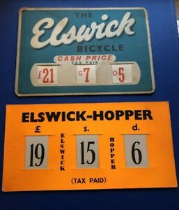 TWO VINTAGE ELSWICK HOPPER BICYCLE CYCLE SHOP BIKE PRICE CARD,1960'S