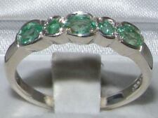 Solid English Sterling Silver  Natural Emerald Contemporary StyleEternity  Ring