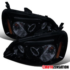 For 2001-2003 Honda Civic Glossy Black Smoke LED Halo Rims Projector Headlights