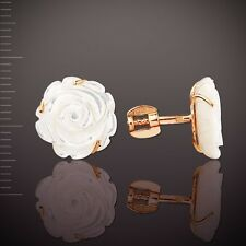 Mother of Pearl Stud Earrings Russian Rose Gold 14k/ 585 Screw Backs 2.79 G