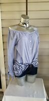 PECK & PECK Top White Blue Embroidered  Stripe Blouse 3/4 Sleeve Cotton NWT$79
