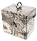 JAPAN MEIJI PERIOD 1868 1912 STERLING SILVER JEWEL BOX WITH COMPARTMENTS DRAWERS