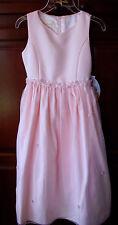 Girls sz 10  Pink DRESS Rosette Sateen Pearl Waistband Sleeveless by Cinderella