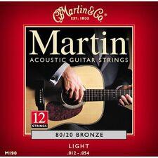Martin M190 Guitarra Acústica Cuerdas De Luz De Bronce Calibre.012 -.054 12 String Set